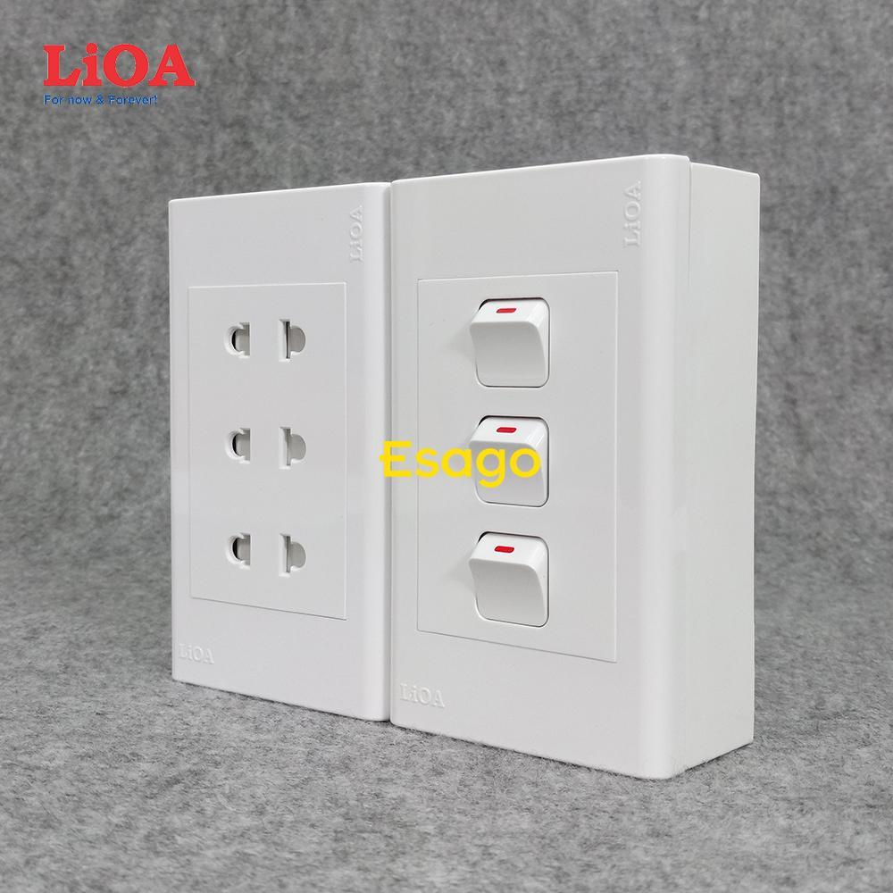 Combo ổ cắm điện ba 2 chấu 16A (3520W) + 3 công tắc điện LiOA - Lắp nổi