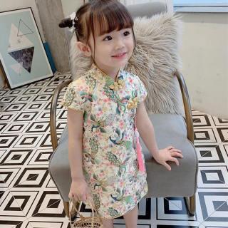Váy Bé Gái 1-6 Tuổi Váy Hoa Mùa Hè Cotton Cho Bé Gái Đầm Sườn Xám Truyền Thống Trung Quốc Cho Trẻ Em Bé Gái Váy Bé Gái