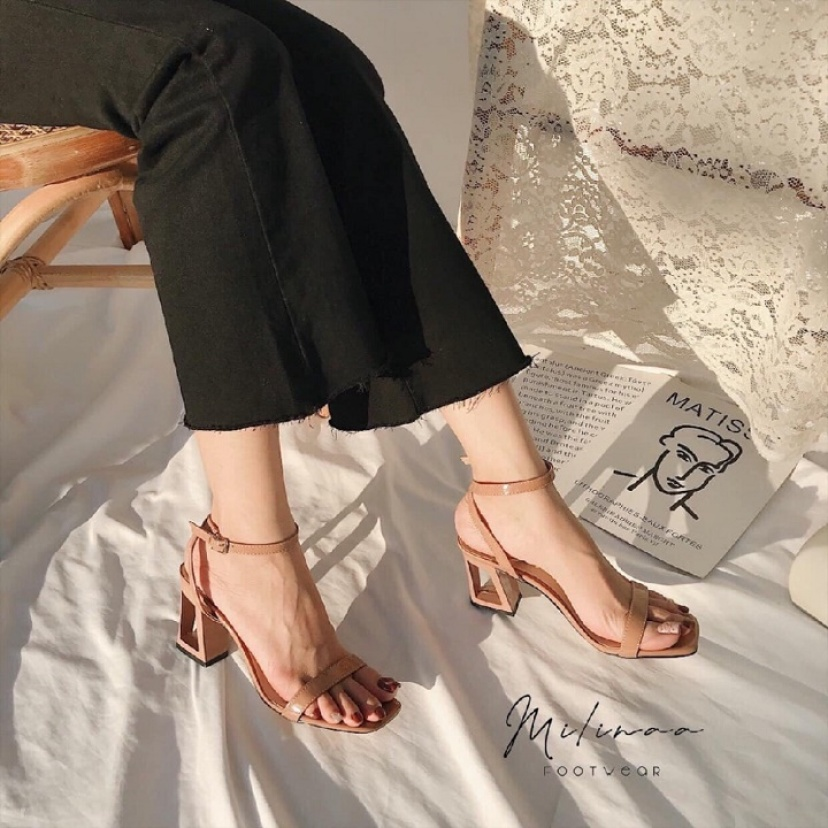 Giày nữ 7p cao gót / sandal nữ 7p gót vuông gót lạ sang chảnh giá rẻ