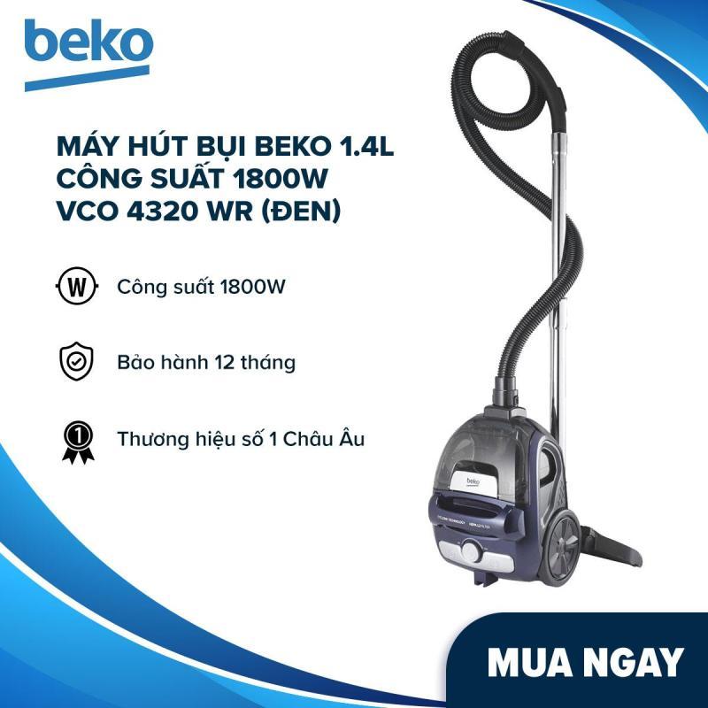 Máy hút bụi Beko 1.4L công suất 1800W VCO 4320 WR (Đen) - Hàng phân phối chính hãng, thương hiệu Thổ Nhĩ Kỳ - Thiết kế dạng không túi, gọn nhẹ; Công nghệ lọc HEPA