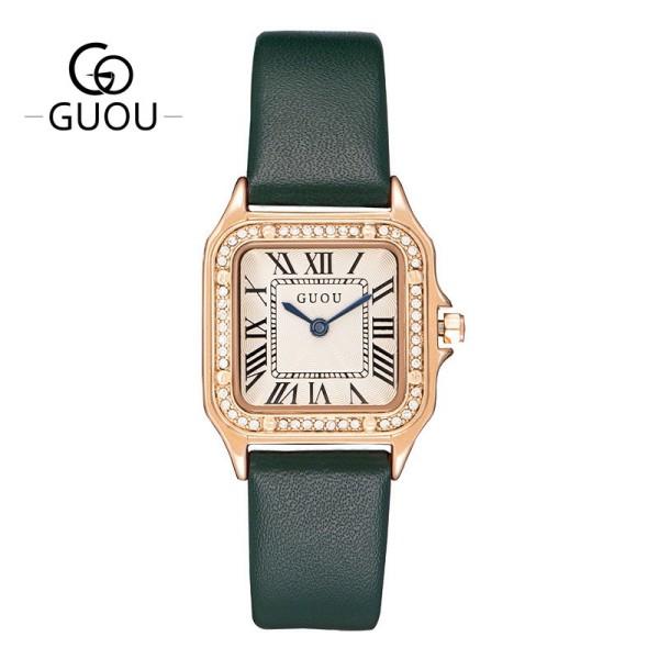 Đồng hồ nữ GUOU G6024 dây da mặt vuông