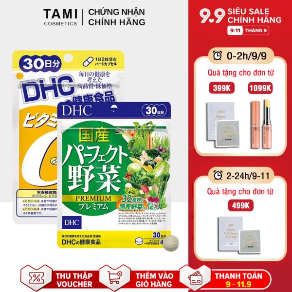 Combo Sáng da - Giảm nóng trong DHC Nhật Bản (Viên uống rau củ + Viên uống vitamin C) Thực phẩm chức năng gói 30 ngày TA-DHC-CB9
