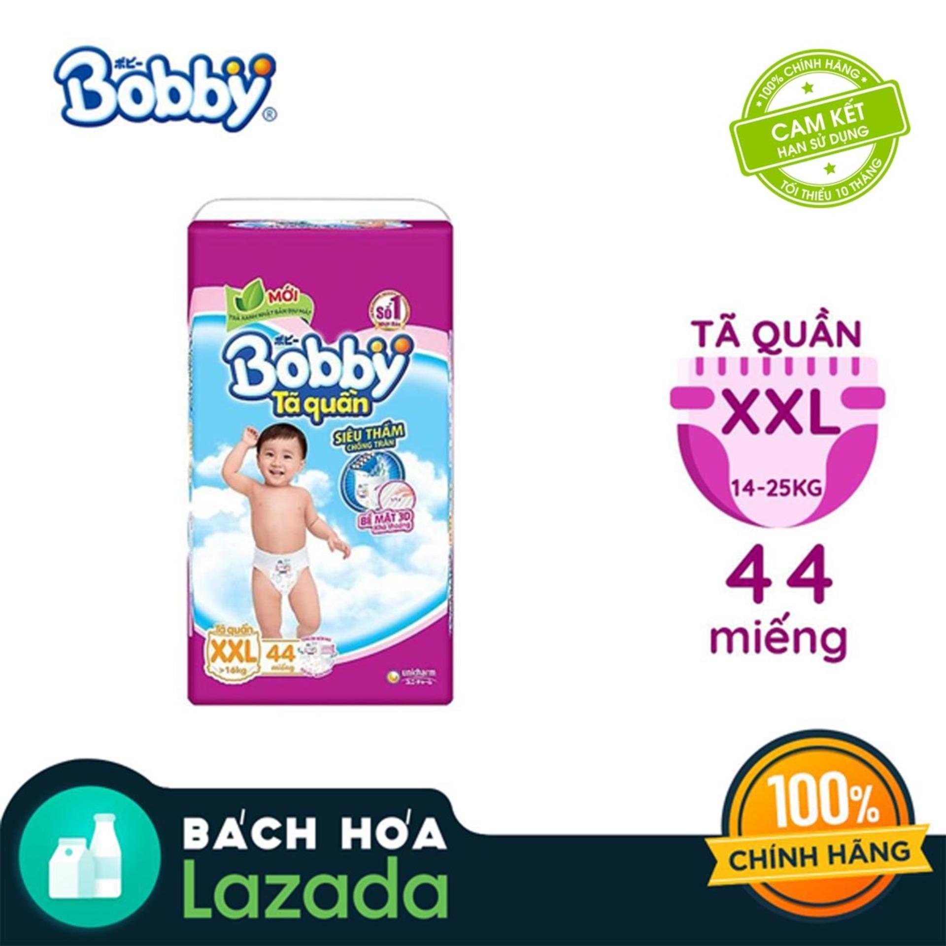 [Tiết kiệm] Tã/Bỉm quần Bobby gói siêu lớn XXL- 44...