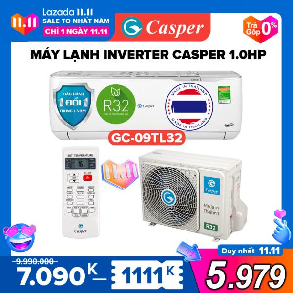 Máy Lạnh Inverter Casper 1HP - Model GC-09TL32 Dưới 15m2, Công Suất 9000BTU, Gas R32, Đổi mới 1 năm, Nhập khẩu Thái Lan, Máy Lạnh Giá Rẻ Chất Lượng - Bảo Hành 3 Năm