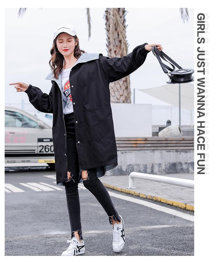 Áo khoác dù nữ 2 mặt form dài phối 2 màu thời trang Hàn Quốc
