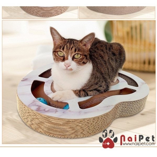Bàn Cào Mèo Hình Trái Tim Kèm 2 bóng lục lạc CP-163 Deku BCM004