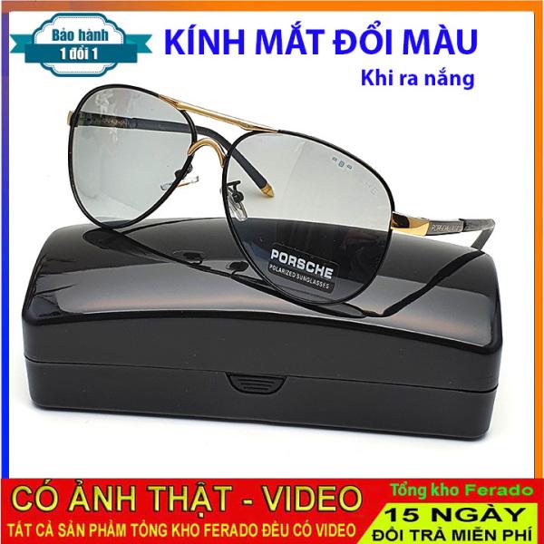 Giá bán Video test đổi màu và test UV - Mắt kính nam đổi màu dùng cho ngày và đêm -Kính đổi màu( trong suốt)  kính không đổi màu ( màu đen)- Tặng kèm hộp đựng kính và khăn lụa