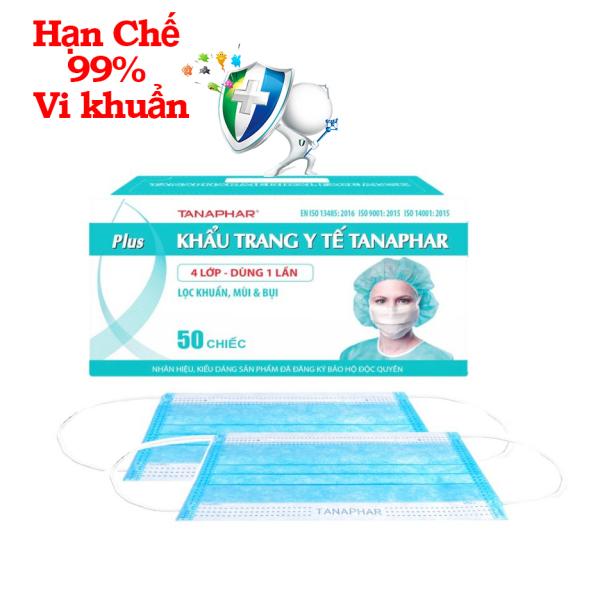 Khẩu trang y tế Plus 4 Lớp Tanaphar Hộp 50 cái màu xanh với lớp vải kháng khuẩn SMS chống bụi, Thanh tựa mũi và quai đeo dễ định hình, chắc chắn, vừa vặn, không ảnh hưởng tầm nhìn và khí thở khi sử dụng