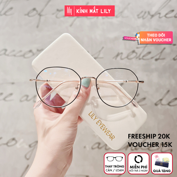 Giá bán Gọng kính cận nữ Lilyeyewear kim loại mắt tròn nhiều màu - 2984