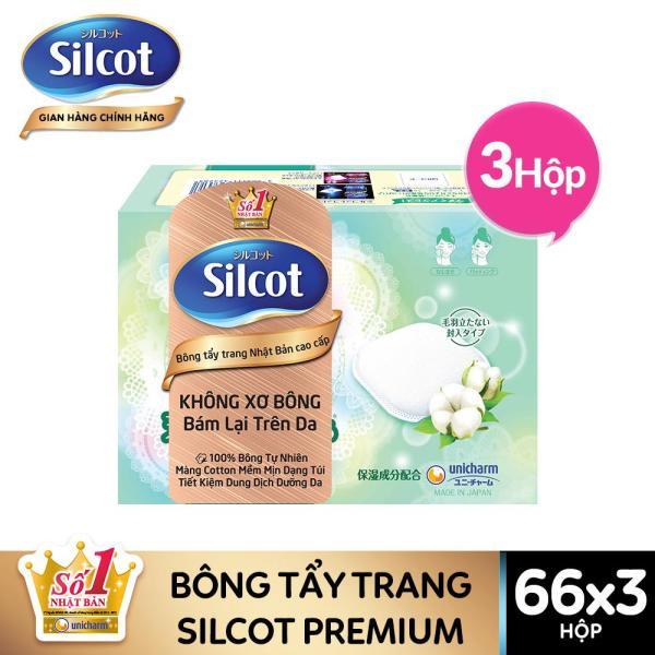 Bộ 3 hộp Bông tẩy trang cao cấp Silcot Premium 66 miếng/hộp - TUSC00002CB giá rẻ
