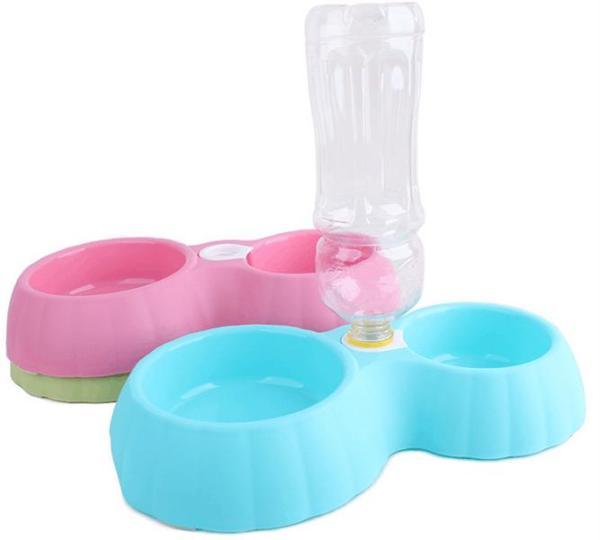 Bát đôi gắn bình nước cấp nước tự động cho chó mèo - phụ kiện thú cưng- size S