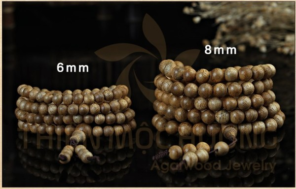 Chuỗi 108 hạt đeo tay bằng gỗ trầm thái lan tự nhiên thiết kế nhiều vòng độc đáo