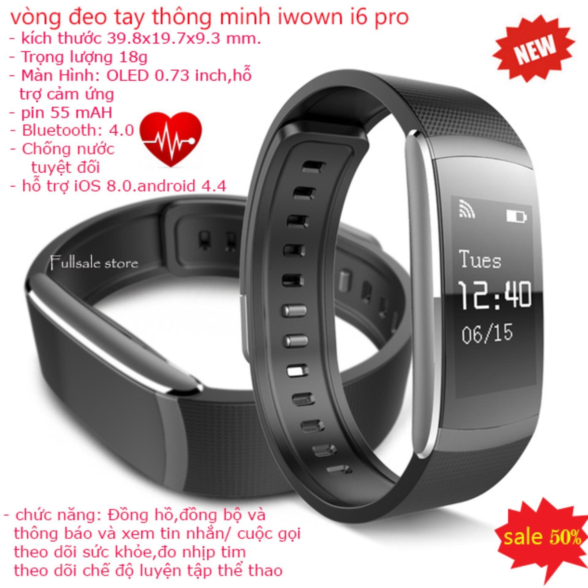 Đồng hồ theo dõi sức khỏe, Dây đeo tay thông minh, Vòng đeo tay thông minh iwown i6 pro thông minh theo dõi sức khỏe, chông nước, kiểu dáng sang trọng chất lượng cao,BH 1 đổi 1 trên toàn quốc bởi fullsale store