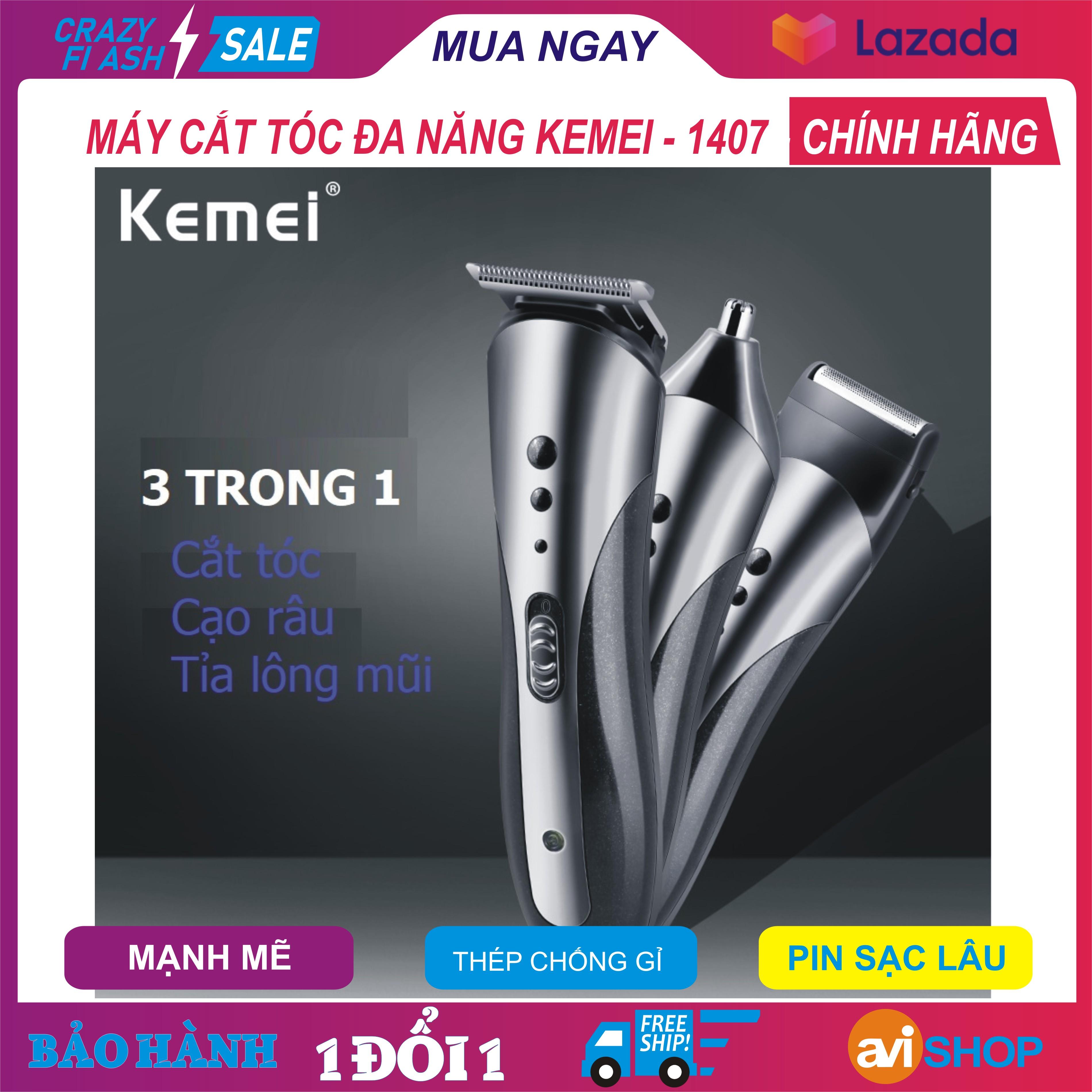 Máy cắt tóc Kemei-KM1407, Tông đơ cắt  tóc đa năng, Hàng chất thép không gỉ, pin sạc lâu, đầu cắt chuẩn, tặng thêm giới hạn lược, thêm đầu cắt long mũi và cạo râu Giá SHOCk - aviSHOP cao cấp