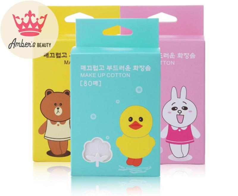 Bông Tẩy Trang Nhiều Lớp 100% cotton 80 Miếng Dai Mịn Nâng Niu Da Line Friends Cony L0819