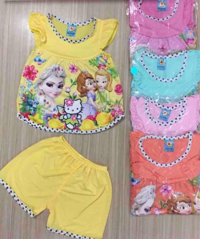 Nơi bán Combo 4 bộ thun lanh bé gái (size 6-15kg)