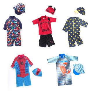 (CHỌN MẪU) Bộ bơi bé trai kèm nón, đồ bơi liền thân có mũ, áo tắm 1 mảnh dày dặn chống nóng chống lạnh dễ thương cho bé thumbnail