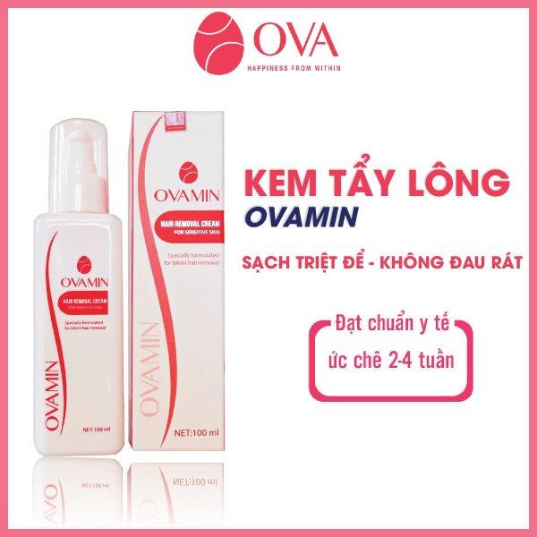 Kem tẩy lông Body OvaMin triệt lông nách, chân, tay, bikini, vùng kín an toàn và hiệu quả, giữ ẩm, giảm thâm cho da dung tích 100ml cao cấp