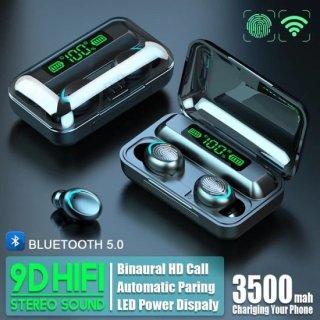 Tai nghe bluetooth Amoi F9 -5, Phiên bản tai nghe không dây nâng cấp của tai nghe F9, công nghệ cảm ứng, mở nắp tự kết nối, chống nước, chống ồn, âm thanh HD, kén sạc 2000 mAh kiêm sạc dự phòng 8