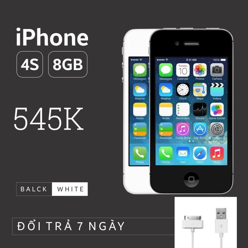 Điện thoại Apple IPHONE 4S - 8GB giá rẻ - Phiên bản quốc tế - Bao đổi trả (Màu ngẫu nhiên trắng/đen) - Tặng cáp sạc