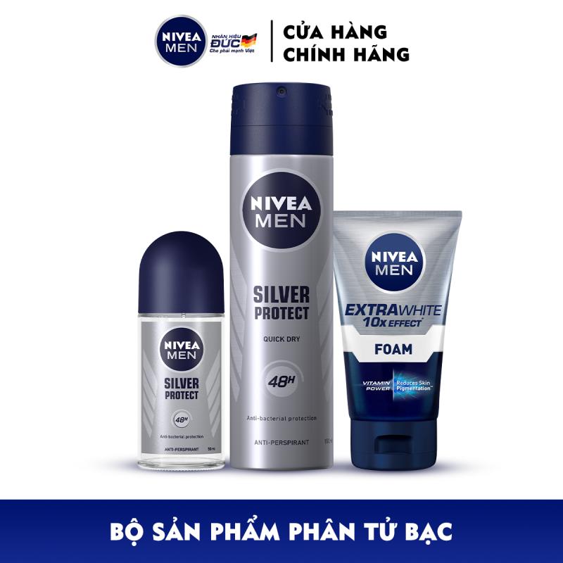 Bộ 3 sản phẩm Xịt và Lăn Ngăn Mùi NIVEA MEN Silver Protect Phân Tử Bạc Giảm 99.9% Vi Khuẩn Gây Mùi (150ml - 82959 & 50ml - 83778) & Sữa Rửa Mặt NIVEA MEN Làm Sáng Da (100G) - 88836 giá rẻ
