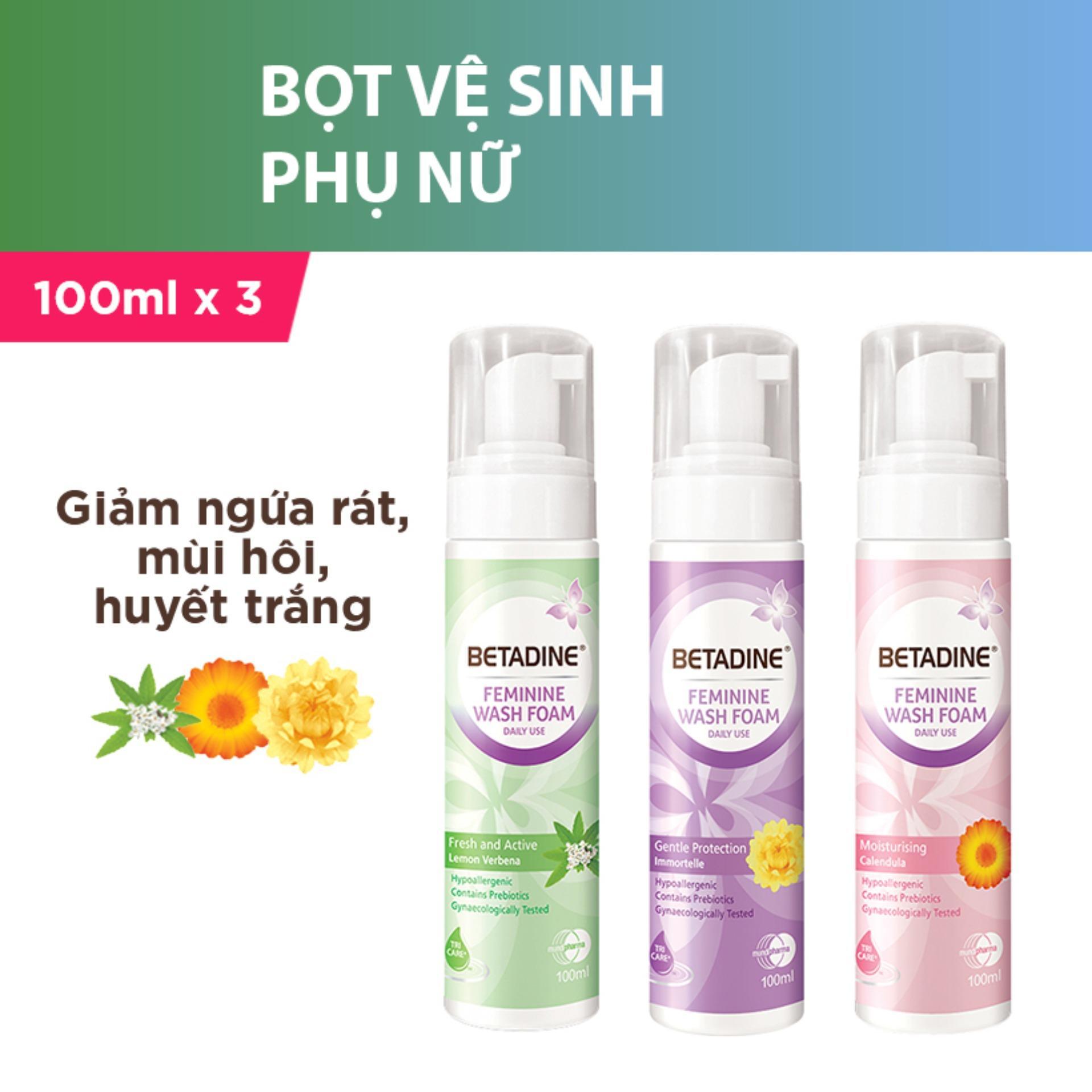 Bộ 3 chai Bọt vệ sinh phụ nữ 3 mùi (Tím, Hồng, Xanh)- chai 100ml cao cấp