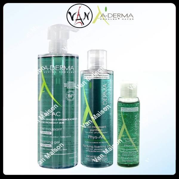 [HCM]Aderma gel rửa mặt cho da mụn nhạy cảm  A-Derma Gel Moussant Purifiant Phys-Ac 100ml - 200ml - 400ml