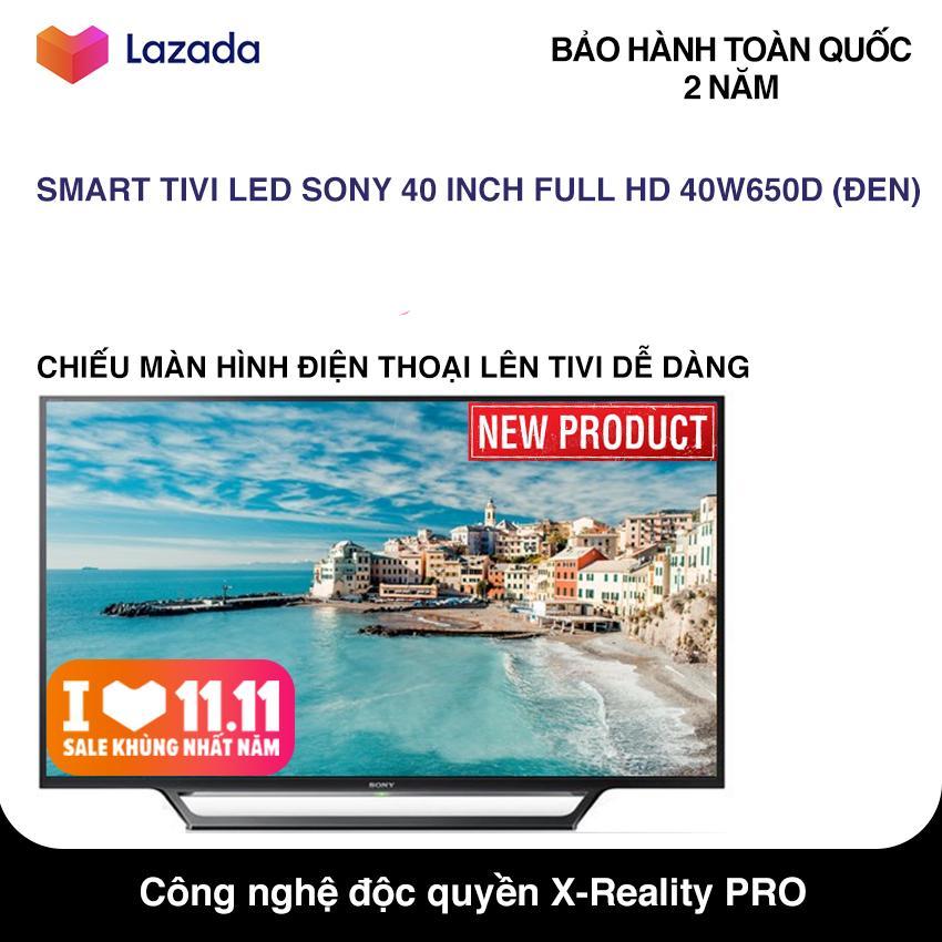 Bảng giá Smart Tivi LED Sony 40 inch Full HD - Model 40W650D (Đen) Hệ điều hành Lunix, Công nghệ hình ảnh X-Reality PRO, Điều khiển bằng điện thoại - Bảo Hành 2 Năm