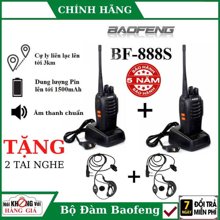 ( Tặng 2 tai nghe chất lượng cao ), Bộ 2 Bộ đàm baofeng BF-888S cao cấp , bộ đàm chuyên nghiệp , bộ đàm cầm tay , bộ đàm siêu xa , máy bộ đàm