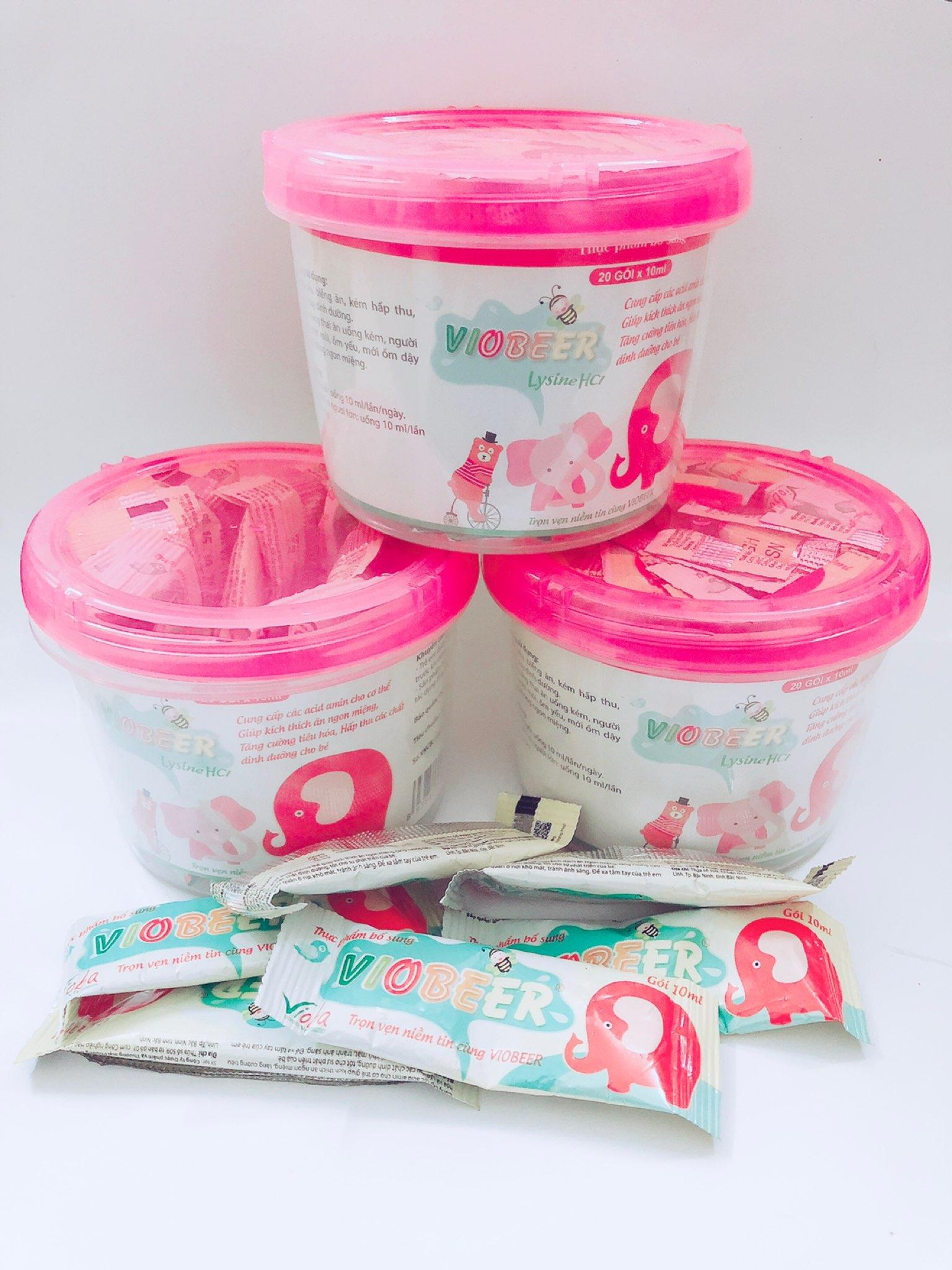 Kích thích trẻ ăn ngon, cung cấp acid amin, Lysine, giảm tiêu chảy, tăng cường tiêu hóa - Bộ 3 hộp Thực phẩm chức năng Viobeer của Vioba 20 gói x 10ml