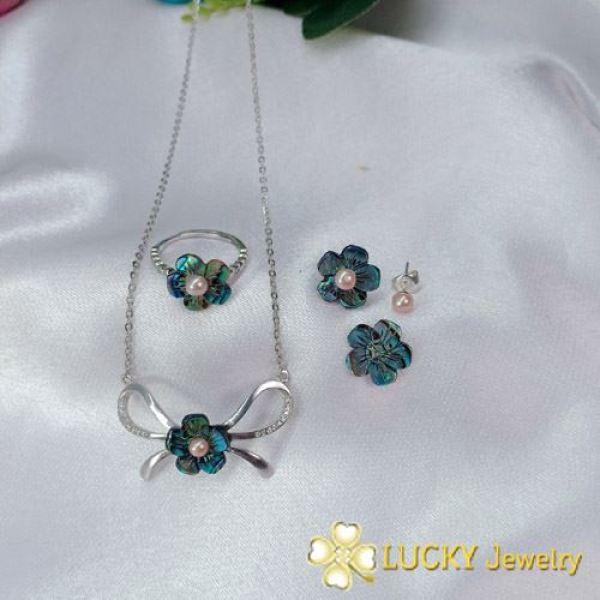 Bộ trang sức Lucky Jewelry LJ519 Bạc cao cấp đính Ngọc Trai