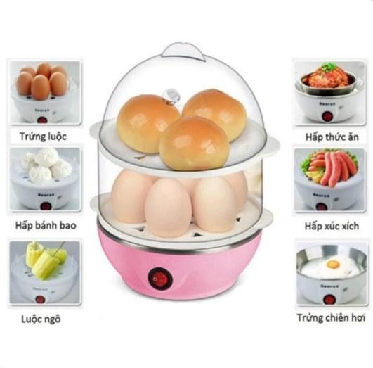 Nồi luộc trứng hấp thức ăn đa năng 2 tầng - Kmart - Máy hấp thực phẩm 2 tầng