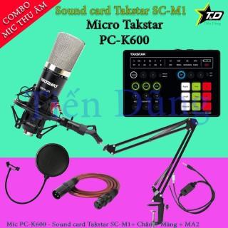 Mic thu âm Takstar PC K600 sound card SC M1 có autu tune chân mic màng lọc dây livestream MA2 thumbnail