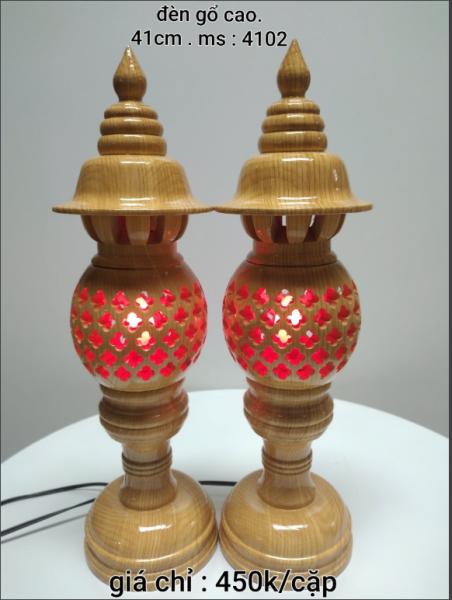 COMBO 2 CẶP Đèn gỗ cao - đèn mỹ nghệ cao 41cm - Trạm tổ ong tinh sảo - Mã 4102