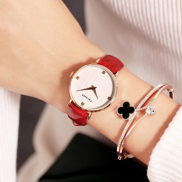 Nơi bán Đồng hồ nữ dây da mặt tròn đỏ quyến rũ Fernweh ĐHĐ16801