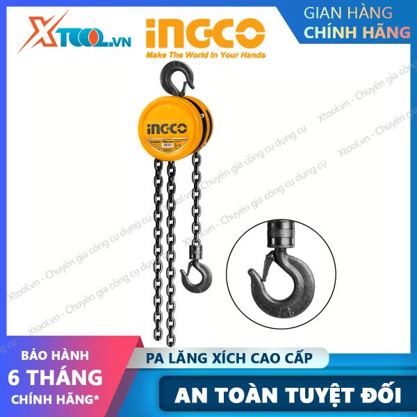 Palang xích treo cao cấp INGCO 1-2 tấn x 3m ròng rọc xích kéo vận chuyển nâng di vật nặng hàng hoá cồng kềnh [XTOOL][XSAFE]