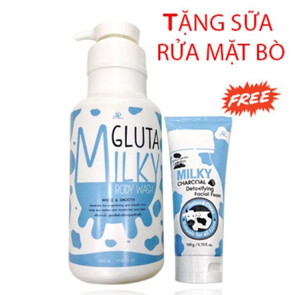[HCM]Sữa tắm bò Gluta Milky Thái Lan 800ml giúp da thêm mềm mại láng mịn Tặng sữa rửa mặt 190gr nhập khẩu