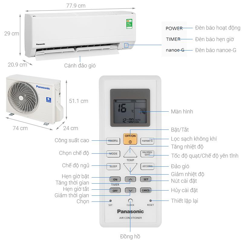 Máy lạnh Panasonic 1 HP CU/CS-N9WKH-8M Mới 2020