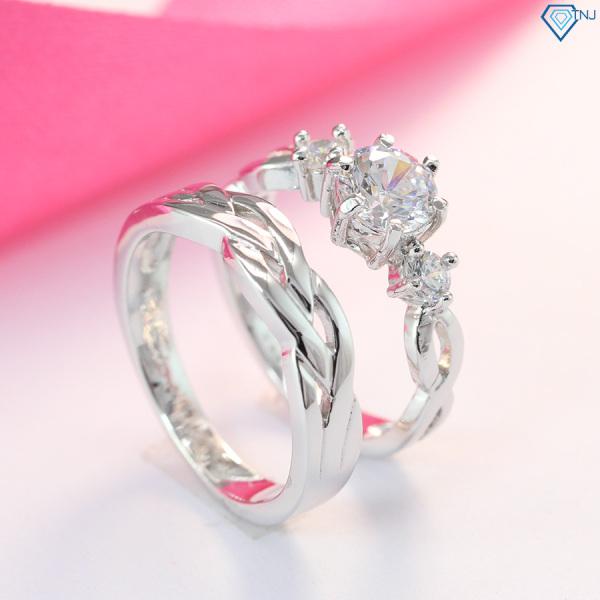 Nhẫn đôi bạc 925 vô cực đính đá khắc tên ND0181 - Trang Sức TNJ