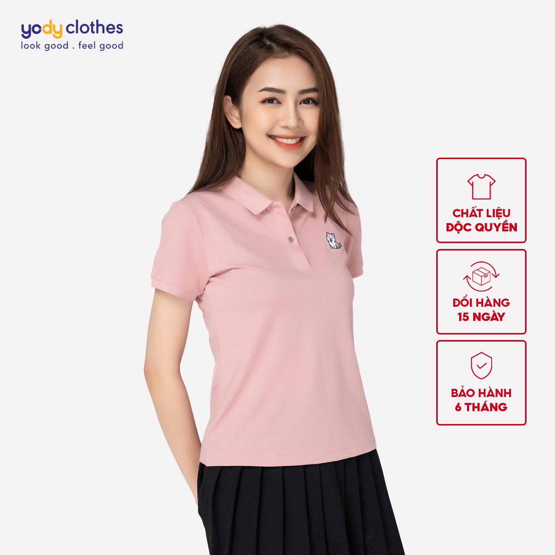 Áo phông nữ thêu ngực YODY áo thun nữ có cổ chất liệu cotton mềm mịn APN3878