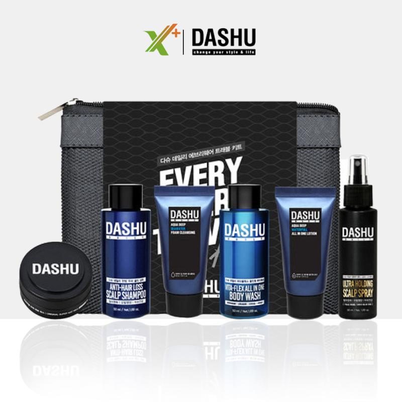 Set mini Dashu Nam Daily Lets ( dầu gội + sữa tắm + Lotion + sữa rửa mặt + sáp vuốt tóc + xịt tạo kiểu + bàn chải đánh răng + túi lưới ) Bộ dưỡng da và tạo kiểu tóc cho nam XP-SET021