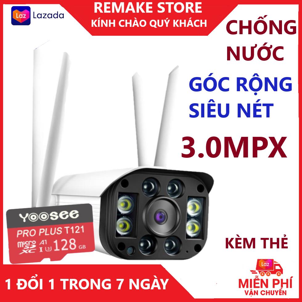 Camera - Camera wifi - Camera yoosee - Camera ngoài trời 4 râu kèm thẻ nhớ 128gb, chống nước, góc rộng, hiển thị màu ban đêm, cảnh báo chống trộm về điện thoại bảo hành 3 năm 1 đổi 1 trong 7 ngày
