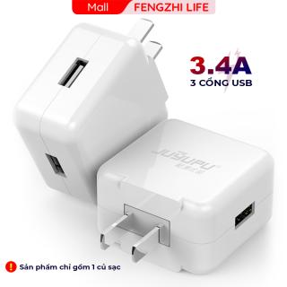 Củ sạc nhanh JUYUPU Q31 cao cấp có 3 cổng USB 3.4A sạc điện thoại chính hãng thích hợp cho iPhone Samsung OPPO VIVO HUAWEI XIAOMI cục sạc thumbnail