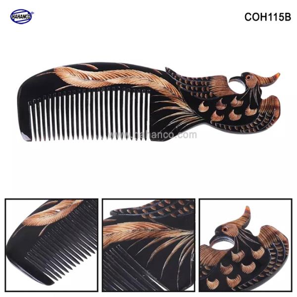 Lược sừng đen hình Phượng - COH115B (Size: L - 18cm) Quà tặng rất đẹp - Horn Comb of HAHANCO - Chăm sóc tóc