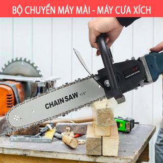 BỘ CHUYỂN ĐỔI CƯA XÍCH GẮN MÁY CẮT CẦM TAY THÀNH MÁY CƯA GỖ - THANH LAM DÀI 30CM LÁ CHẮN SẮT - Máy mài Makita 9556 + Lưỡi cưa xích Chainsaw - Máy cưa cầm tay - Xẻ gỗ - cắt cánh - đánh bóng - chà nhám thumbnail