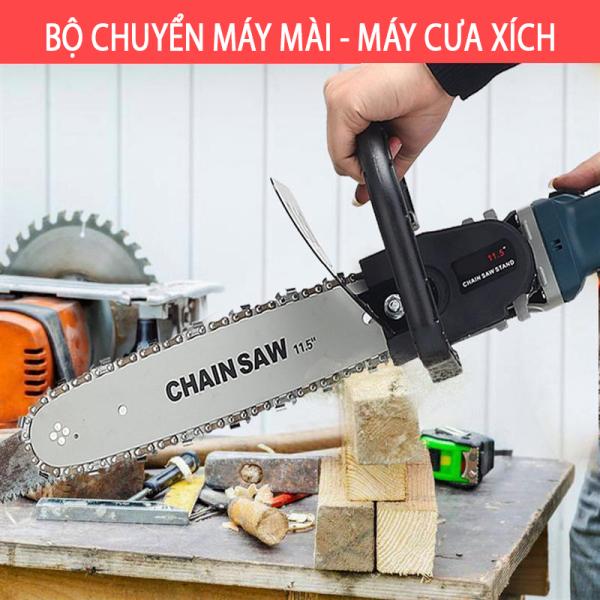 BỘ CHUYỂN ĐỔI CƯA XÍCH GẮN MÁY CẮT CẦM TAY THÀNH MÁY CƯA GỖ - THANH LAM DÀI 30CM LÁ CHẮN SẮT - Máy mài Makita 9556 + Lưỡi cưa xích Chainsaw - Máy cưa  cầm tay - Xẻ gỗ - cắt cánh - đánh bóng - chà nhám