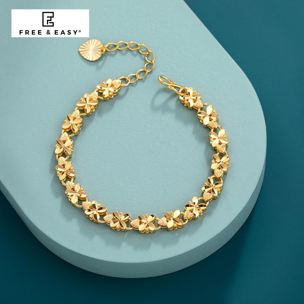 [HCM]Lắc chân nữ mạ vàng 18K cao cấp FREE & EASY có thể làm lắc tay giống vàng thật 99% cho độ sáng lấp lánh cao cam kết không đen không bay màu đeo cực sang chảnh thích hợp đi tiệc mua làm quà tặng
