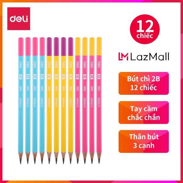 Mua Bút chì 2B DELI - Xanh/Hồng, Hồng/Vàng, Vàng/Tím -12 cái/hộp - EU53100