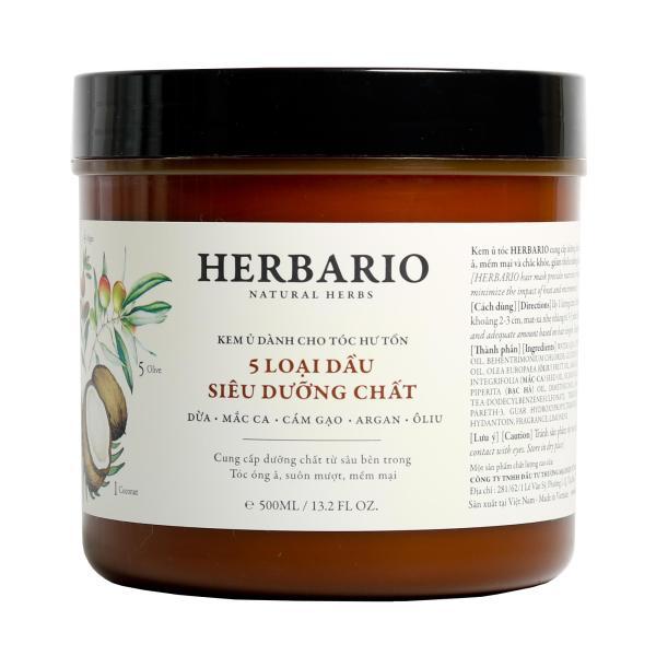 Kem ủ tóc Herbario - 5 Loại dầu siêu dưỡng chất 500ml
