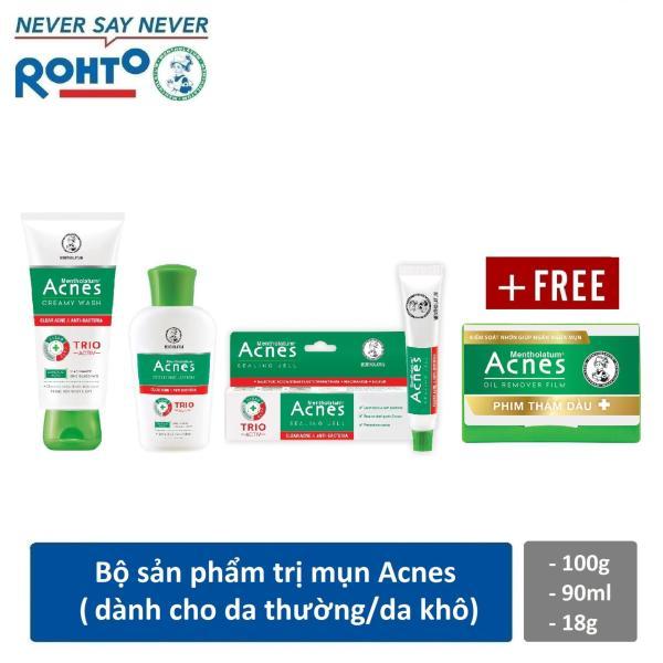 Bộ sản phẩm cho da mụn Rohto Acnes (da thường/khô) + Tặng 1 phim thấm dầu Acnes Oil Remover 50 tờ giá rẻ